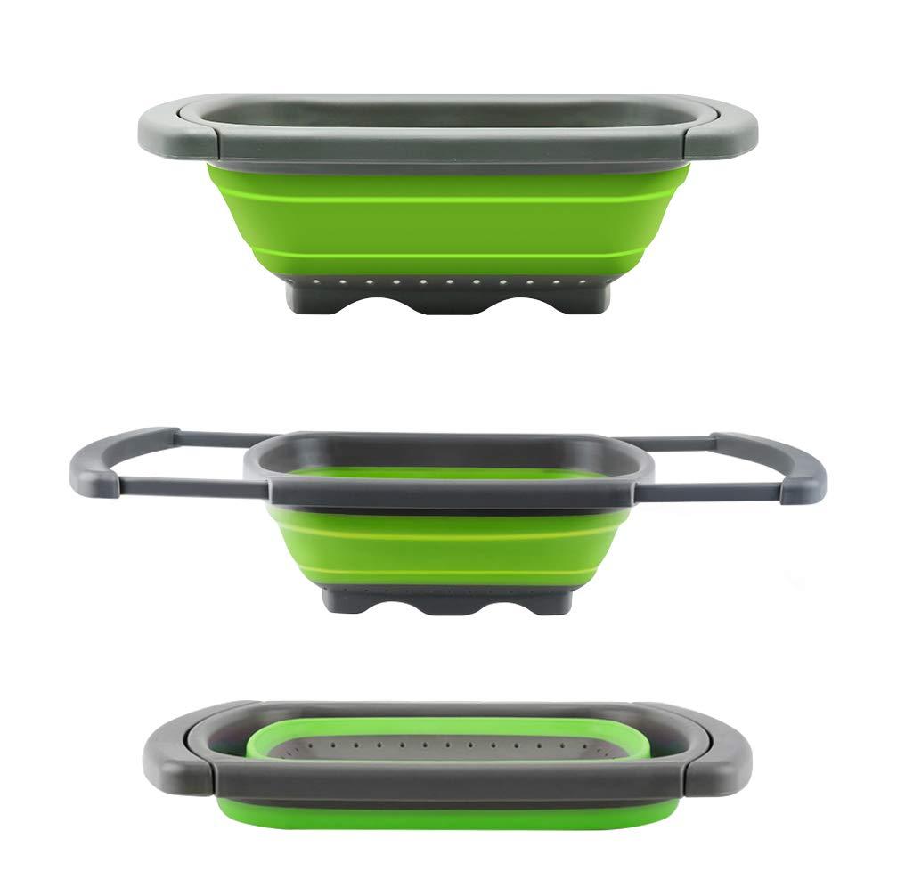 Colador plegable de Senter, para usar encima de fregadero, para vegetales y frutas,