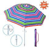 YATIO—7ft Beach Umbrella with Tilt and Integrated Long Sand Anchor, Windproof, Sun Protection SPF/UPF100+ , Multi Color Stripe For Sale