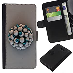 Eye Ball - la tarjeta de Crédito Slots PU Funda de cuero Monedero caso cubierta de piel Sony Xperia M2