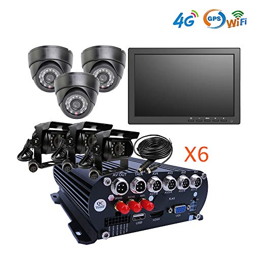 (JOINLGO 8 Channel GPS WIFI 4G 1080N AHD Hard Drive Mobile Vehicle Car DVR MDVR Video Recorder Kit Real-time View on PC Phone with 6 1080P 2.0MP In-car Side Back View IR Car Camera 10 inches Car Screen)