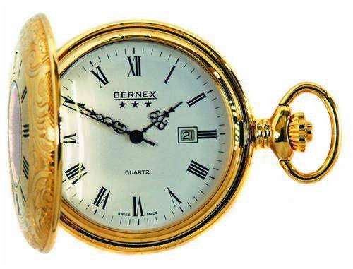 8d3f1059aeb Bernex Swiss Made Quartz Gold Plate Half Hunter Pocket Watch ...