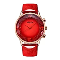 BAOGELA Womens Red Dial Big Face Fashion Luxury Dress Leather Quartz Wrist Watch