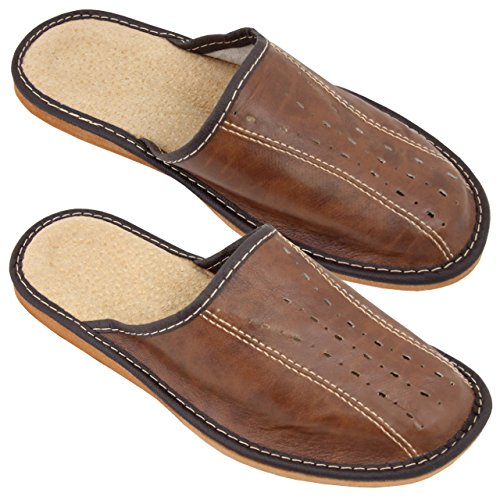 Hausschuhe Herren Echtleder Pantoffeln Latschen Leder Braun Größe 44 NEU