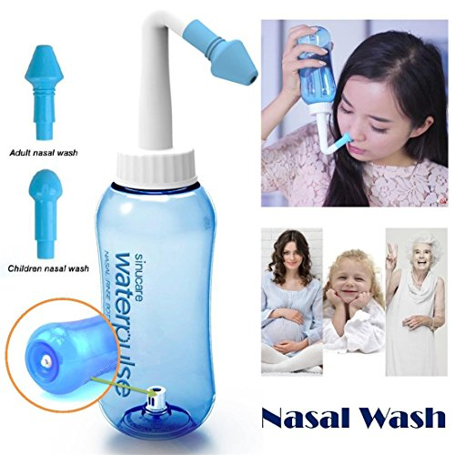 Heyuni.Nasal Nose Wash Bottle Nasal Cleanse 10oz 300ml Nose Cleaner Clean Irrigator Allergies Relief Pressure Rinse Neti Pot Cleanser Irrigation Nasal Cleansing Washer Sneezer Washing,Blue ()