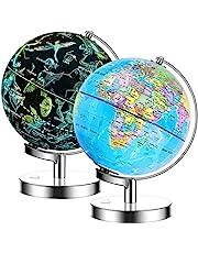 Exerz Verlichte wereldbol 23cm diameter metalen voet - 2 in 1 oplichtkabel gratis LED-lamp - Politieke kaart/sterrenbeeld sterren - dag en nacht