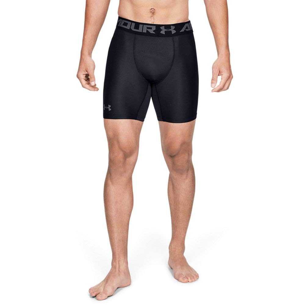 Under Armour Men's HeatGear Armour 2.0 Mid Shorts, Black (001)/Graphite, 3X-Large Tall