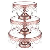 Round Metal Rose Gold Cake Stand 3 Piece Set, Dessert Cupcake Display with Glass Surface and Crystal Dangles (Rose Gold)