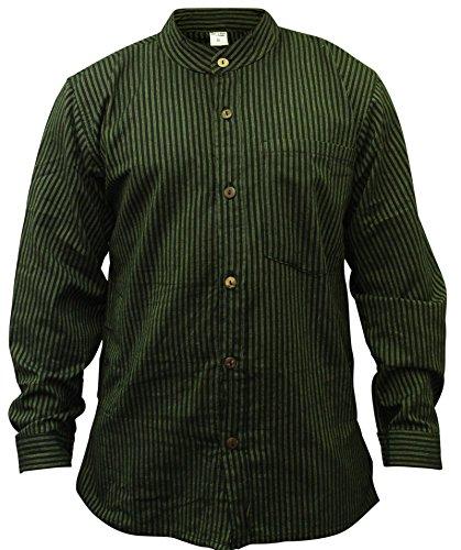 Grandad Neck T-shirt - Shopoholic Fashion Mens Stripe Hippie Grandad Shirt (M,Green)