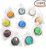 10pcs Different Colors Double Compact Cosmetic Makeup Round Pocket Purse Magnification Jewel Mirror Wedding Gifts for Guests( Come with White Organza Pouch)