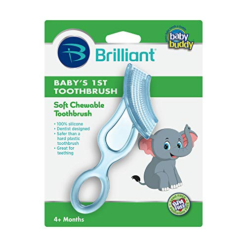 Baby Buddy Baby's 1st Toothbrush Teether—Innovative 6-Stage Oral Care System Grows With Your Child—Stage 4 for Babies/Toddlers—Kids Love Them, Blue (Due Enamel Blue)