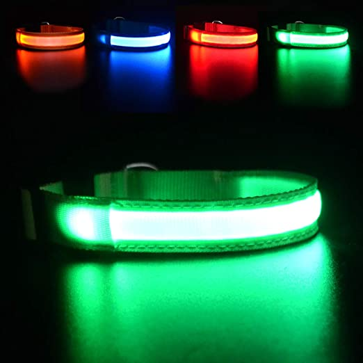 MASBRILL Light Up Dog Collar, LED Safety Collar with USB Rechargeable Super Bright Dog Flashing Collar with 100% Waterproof, 4 Colors with 3 Sizes for Small Medium Large Dogs