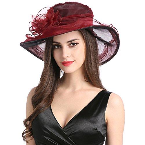 Women's Organza Church Derby Fascinator Cap Kentucky Tea Party Wedding Hat Wine Red