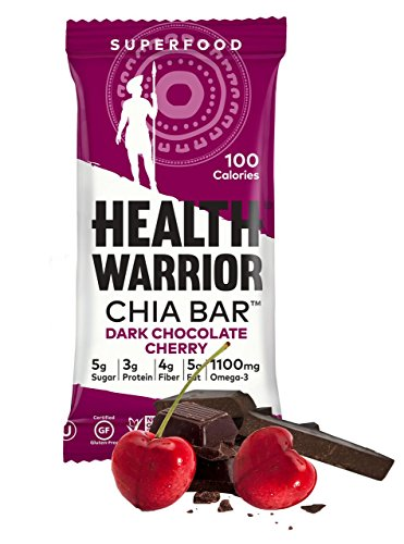 HEALTH WARRIOR Chia Bars, Dark Chocolate Cherry, Gluten Free, 25g bars, 15 (Health Cherry)