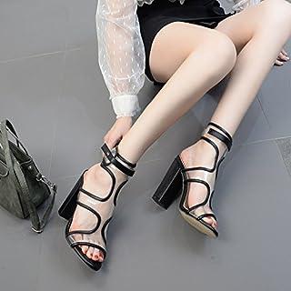 ZHZNVX Die neue, transparente PVC-Folie ist dick mit Tau-Toe Sandalen Fisch Mund hochhackigen Schuhe Frauen