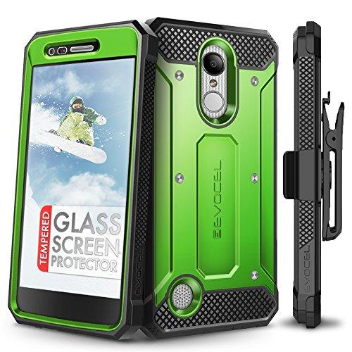 LG Aristo Case, Evocel [Explorer Series] Premium Full Body Case with Rugged Belt Clip Holster for LG Aristo/LG K4 (2017) / LG Rebel 2 / LG Fortune/LG Phoenix 3 / LG K8 (2017), Green