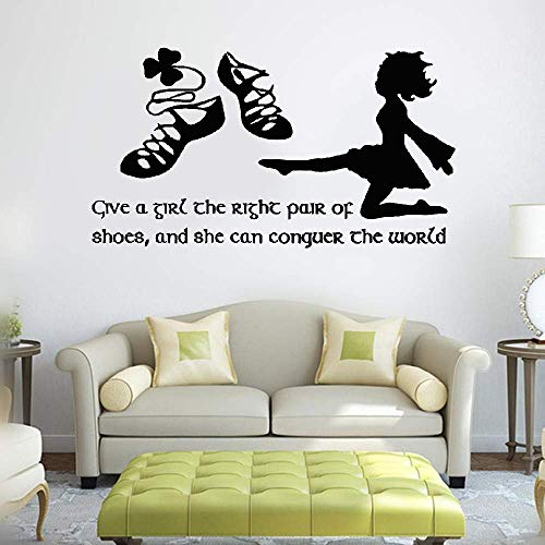 (Bluegiants Vinyl Wall Art Inspirational Quotes and Saying Home Decor Decal Sticker Irish Dance Give A Girl The Right Pair of Shoes and She Can Conquer The World for Girls Room)