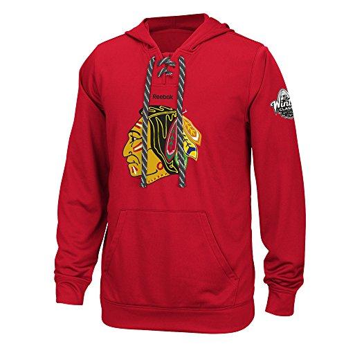 "Chicago Blackhawks Reebok NHL Men's ""Primary Logo"" Pullover Hooded SweatShirt Camicia"