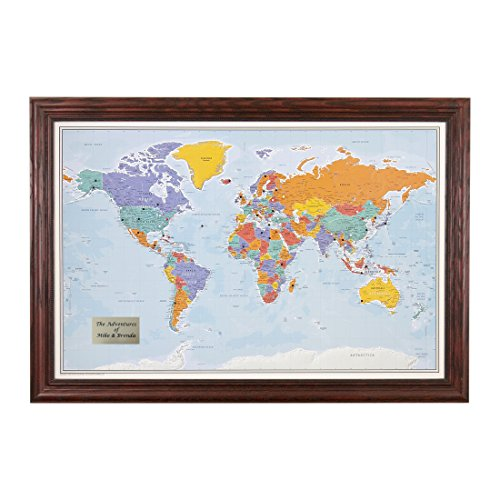 Personalized Push Pin World Travel Map with Solid wood Cherr