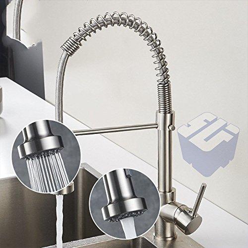 Bijjaladeva Antique Bathroom Sink Vessel Faucet Basin Mixer Tap Kitchen faucet 304 stainless steel spring pull swivel faucet dish washing basin sink Mixer Taps