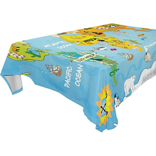Natures Banquet Best Blend - Double Joy Modern Rectangle Square Tablecloth 54x54 Inches Cartoon Kids Map Of The World Cover for Dinners Parties Banquet or Picnic