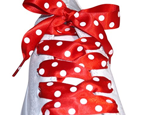 Rot POLKA DOT Band Trainer Schnürsenkel für Converse Lo ist & Hi Tops mit unseren Pimp My Shoes Logo Sicherung an Seilenden: rote Punkte