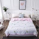 Uther Cotton Summer Quilt Thin Comforter for Summer Lightweight Bed Quilt Blanket (Leaf , Queen/full)