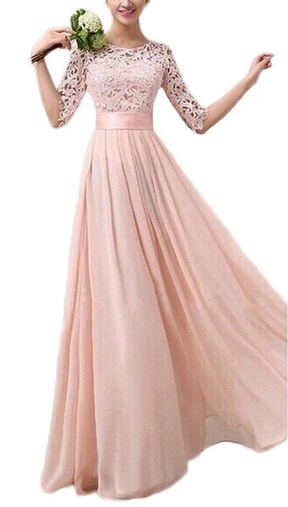 Smile YKK Elegant Women Lace Sleeve Chiffon Evening Long Party Princess Dress Pink S: Amazon.co.uk: Clothing