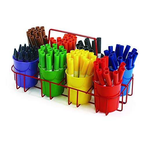Colorations Marker Caddy & Stand, Art Supplies, Wire Organizer, Portable, Holds Crayons, Pencils, Paint Brushes, Collage Items, Glue Sticks, Scissors, Scrapbook Supplies, Art Caddy (Item # MARCAD) -