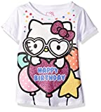 Hello Kitty Girls' Little Girls' Happy Birthday T-Shirt, White, 6X