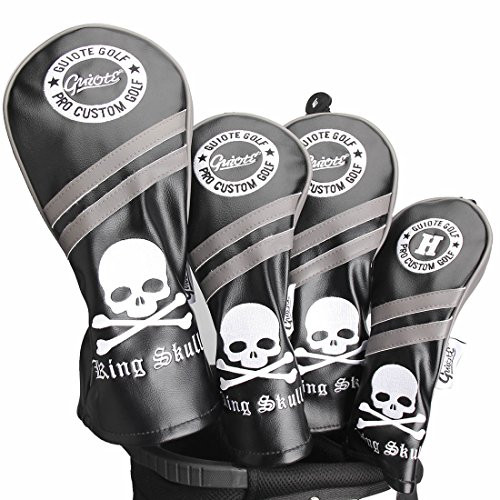 - Guiote Skull Vintage Style Golf Headcover #1#3#5 H Set PU Leather Emboridery Replaceable Number tabs (Black)