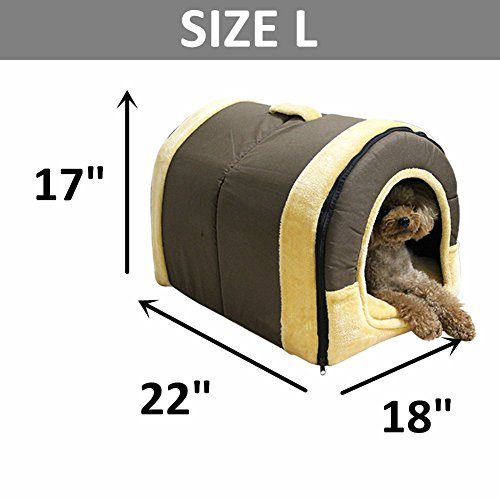 DK Cozy 2-in-1 Pet house and Sofa Non-Slip Dog Cat Igloo Beds 3-Size,Brown Large