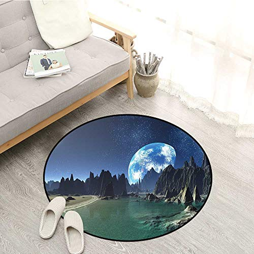 (Fantasy Indoor/Outdoor Round Rugs Tranquil Futuristic View of Earth Rising from Alien Shores Sci Fi Theme Children Bedroom Rugs 5'3