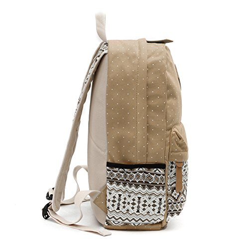 Shoulder Girls Set Navy Khaki Wallet Canvas Women Bags OURBAG Schoolbag 3PCS Casual Backpack for Blue Lightweight H4AHfXqv