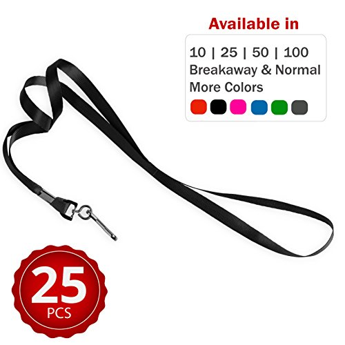 Durably Woven Lanyards ~Premium Quality, Smoothly Finished for Skin-Friendly Comfort~ for Moms, Teachers, Tours, Events, Businesses, Cruises & More (25 Pack, Black) by Stationery ()