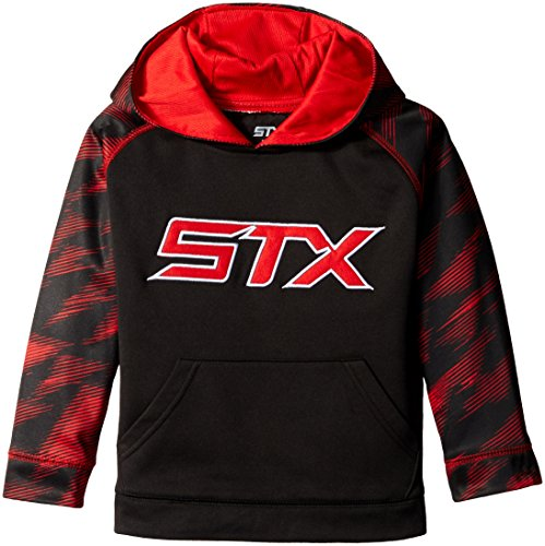 STX Little Boys' Fleece Pullover Hoodie Sweatshirt, Black/Red Print, ()