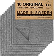 SUPERSCANDI 10 Pack Grey Swedish Dishcloths Eco Friendly Reusable Sustainable Biodegradable Cellulose Sponge C