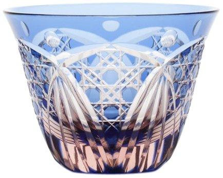 Edo Kiriko glass Japanese Sake cup Guinomi, blue pink KIMOTO GLASSWARE M-58-BP