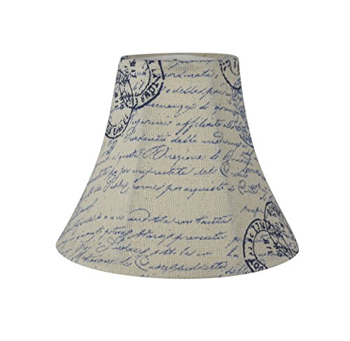 Urbanest Chandelier Lamp Shade, 3-inch by 6-inch by 5-inch, Bell, Vintage Script in Blue, Clip-on