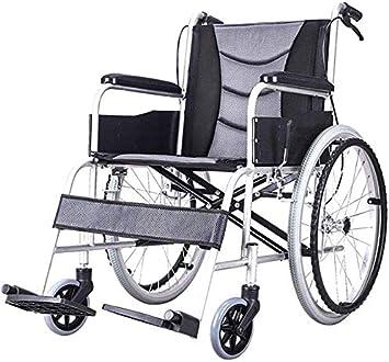 JFZCBXD Silla de Ruedas Plegable del Marco de Aluminio Ligero y Transpirable discapacitados Vespa Médico de Edad Avanzada Manual de Sillas de Ruedas Rest