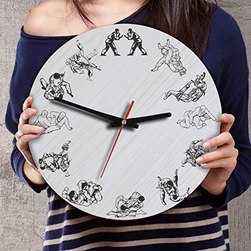 (VTH Global 12 Inch Silent Battery Operated Jiu Jitsu Wood Wall Clocks Jiujitsu Gifts for Men Fighter Lovers Husband Wife)