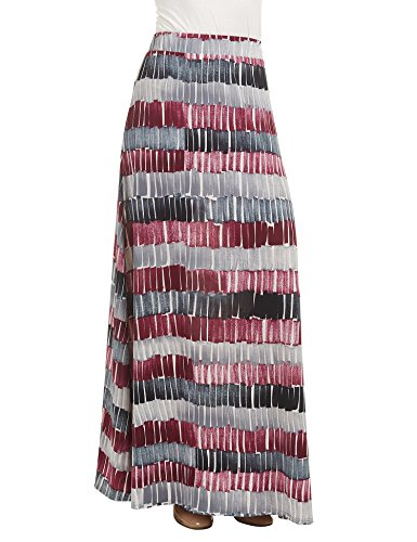 WB1448 Womens Printed Maxi Skirt With Waist Elastic Band L Wine_Black