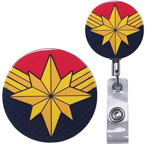 - Captain Marvel Infinity War Inspired Symbol Real Charming Premium Decorative ID Badge Holder (Belt Clip HD)