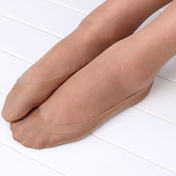 1 par de calcetines cortos invisibles, antideslizantes, para bailarinas, pinkies para mujer camel