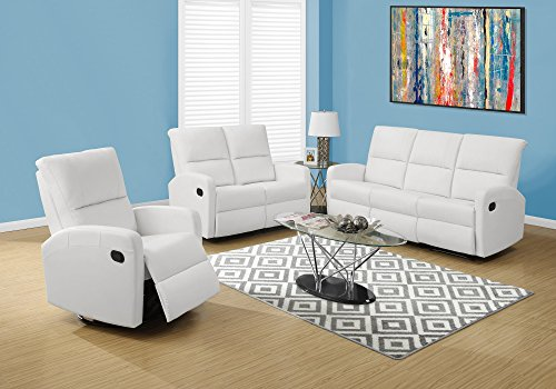 Monarch Specialties I 84WH-2 Reclining Loveseat in White Bonded (Monarch Set Loveseat)