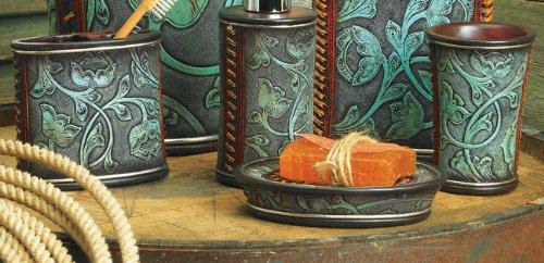 Floral Tooled Turquoise Bath Set 3 Pcs