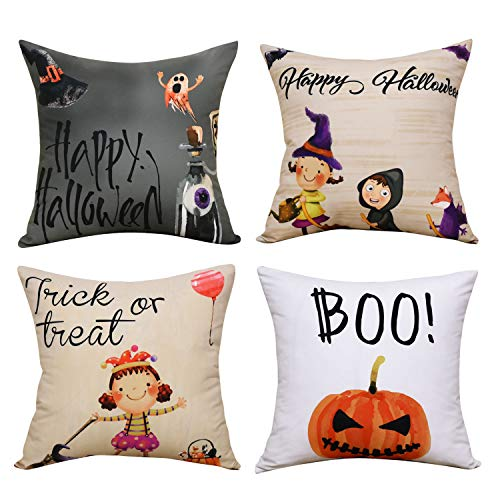 BLEUM CADE Halloween Theme Pillow Covers Halloween Boo and Pumpkin Throw Pillow Case Daily Decorations Sofa Throw Pillow Case Cushion Covers Zippered Pillowcase