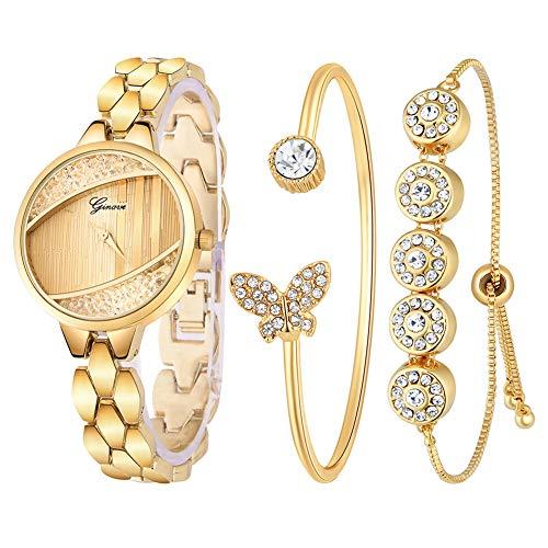 (FAgdsyigao 3Pcs/Set Women Wrist Watch, Round Dial Rhinestone Balls Analog Quartz Open End Bracelet Watches Golden)