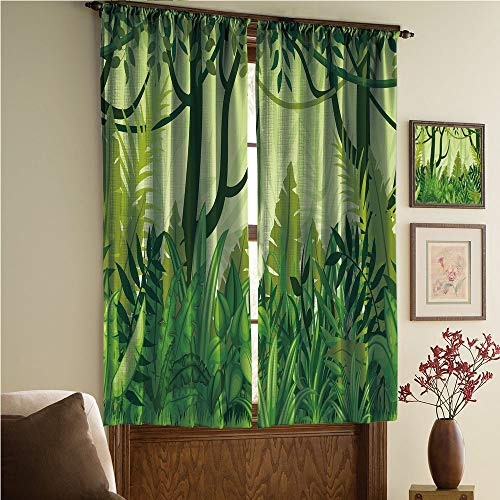 whitepurplecassie curtain Satin Silk Curtains Panels Suitable Fornursery,Bedroom,Living Room,Kitchen Cafe,Sheer Curtains,Reduce noisel,Hand Drawn Digital Rainforest Leaves Bushes 108Wx90L Inch ()