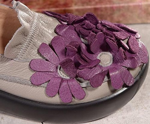 Laruise Women's Leather Platform Shoe GrayPurple sBJ1g