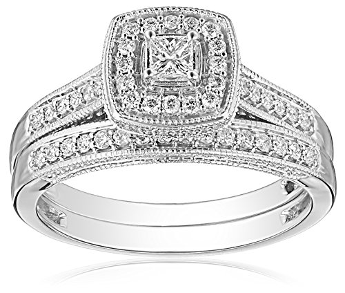 IGI Certified 14k White Gold Halo Diamond (0.5cttw, H-I Color, I1-I2 Clarity) with Milgrain Trim Princess Cut Wedding Ring Set, Size 7
